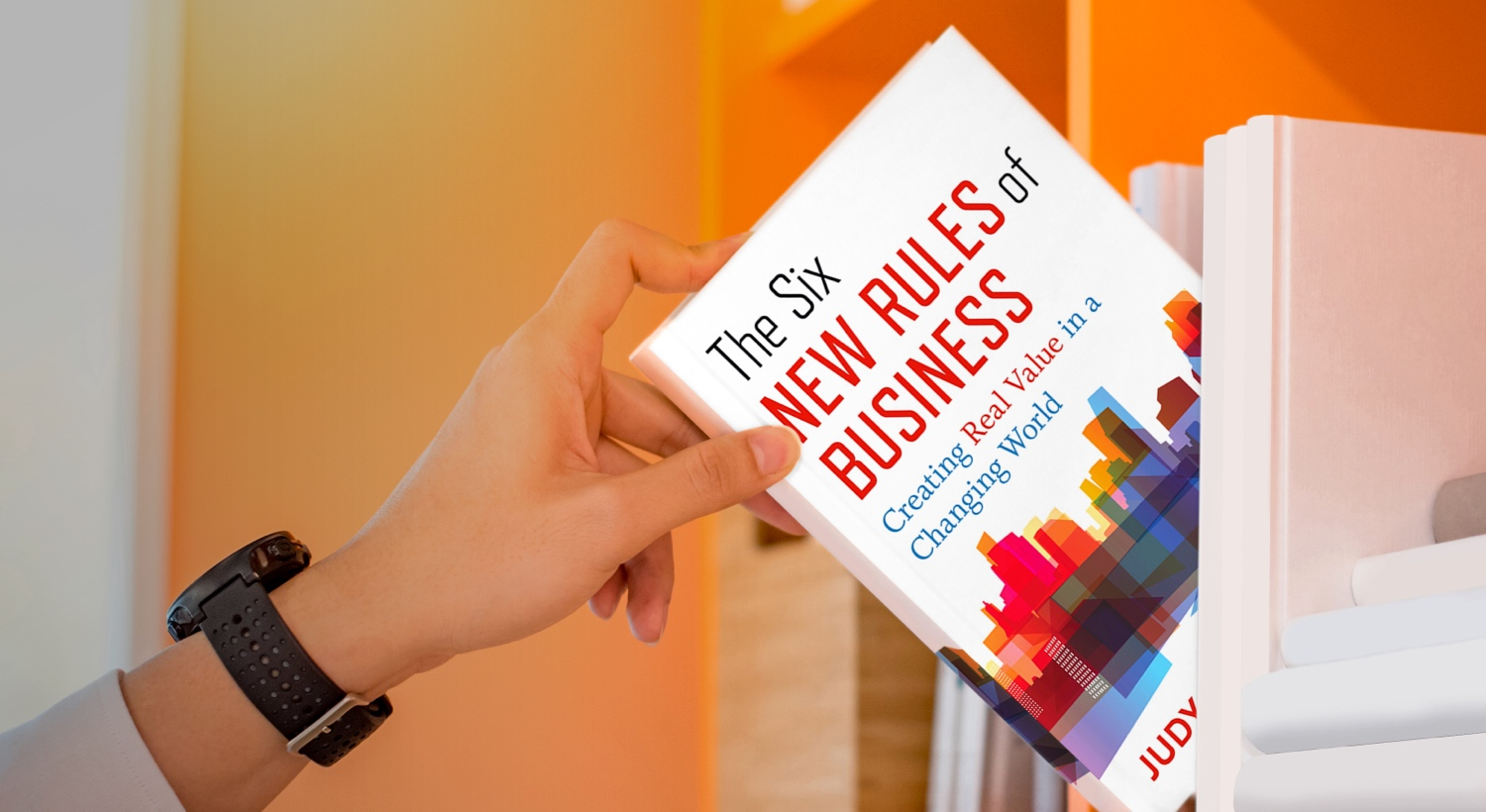 "A copy of Judy Samuelson's book "" The Six New Rules of Business"""
